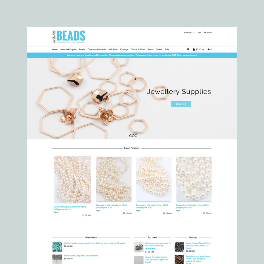 Auckland Beads : WordPress E-commerce