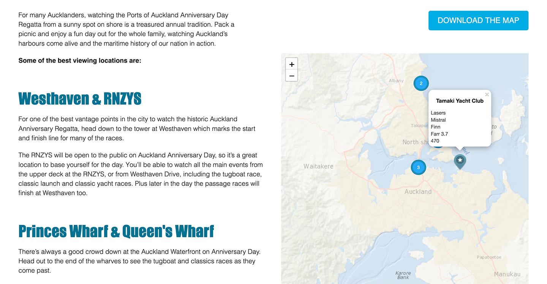 Screenshot of AADR spectator interactive map with download