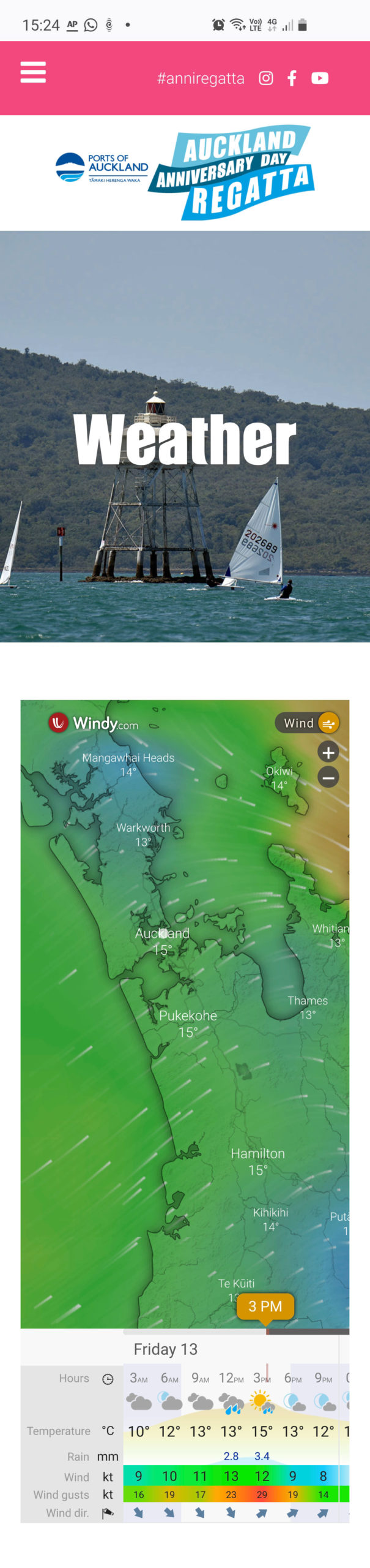 Screenshot of mobile version with weather forecast