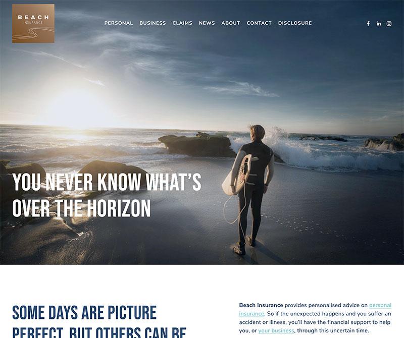 Screenshot of web design for Beach Insurance