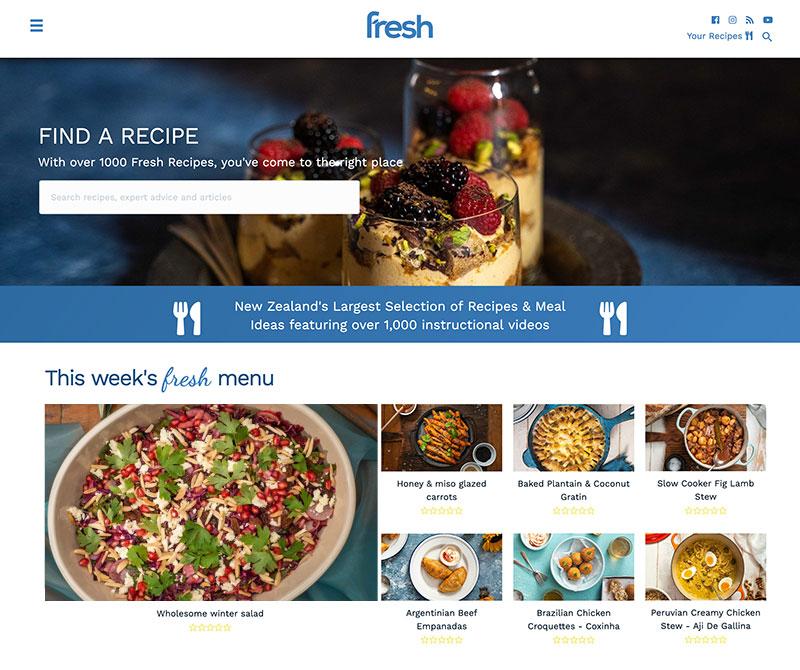 Screenshot of the new design for Fresh Recipes