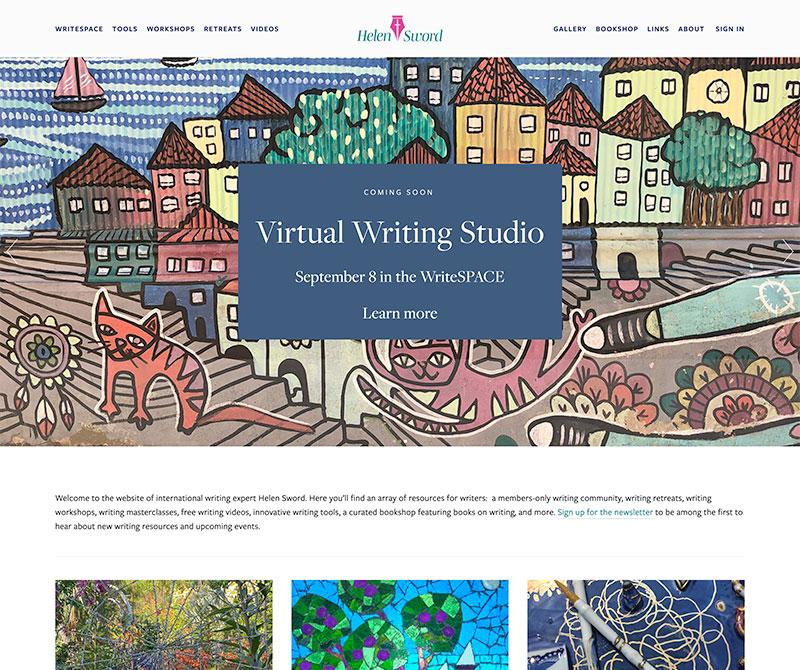 Screenshot of website for Helen Sword