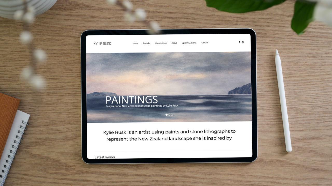 Website design for artist Kylie Rusk