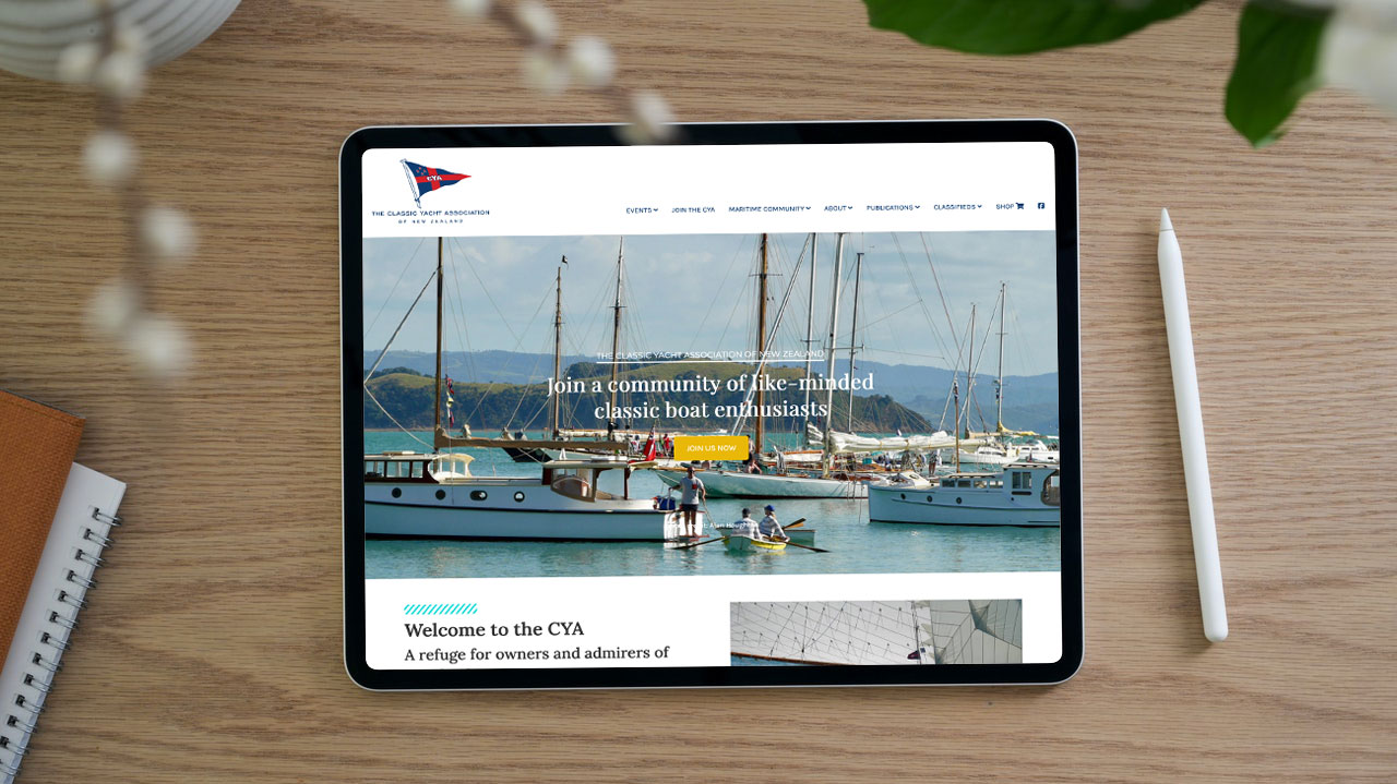 Website design for The Classic Yacht Association of New Zealand