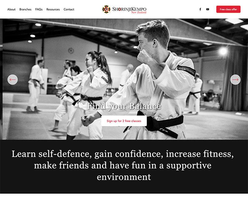 Screenshot of the new website for Shorinji Kempo