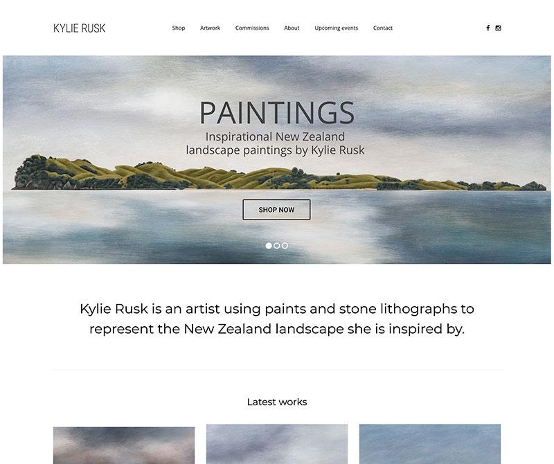 Screenshot of design for artist website