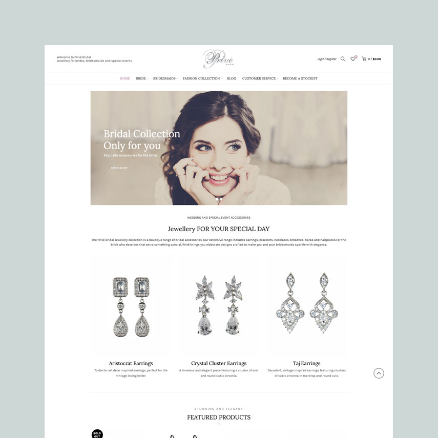 Privé Bridal : WordPress E-commerce