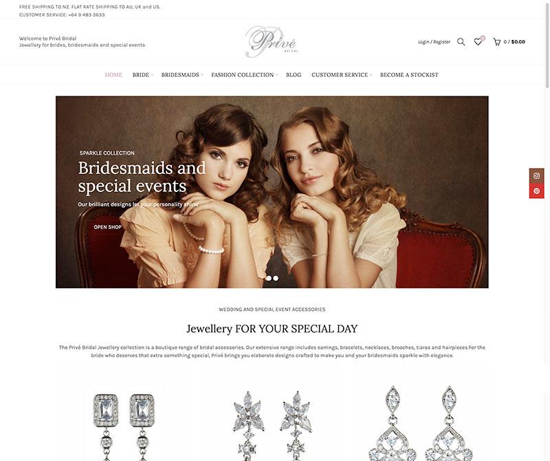 Screenshot of Prive Bridal website
