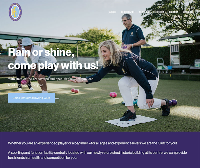 Screenshot of new Remuera Bowling Club website