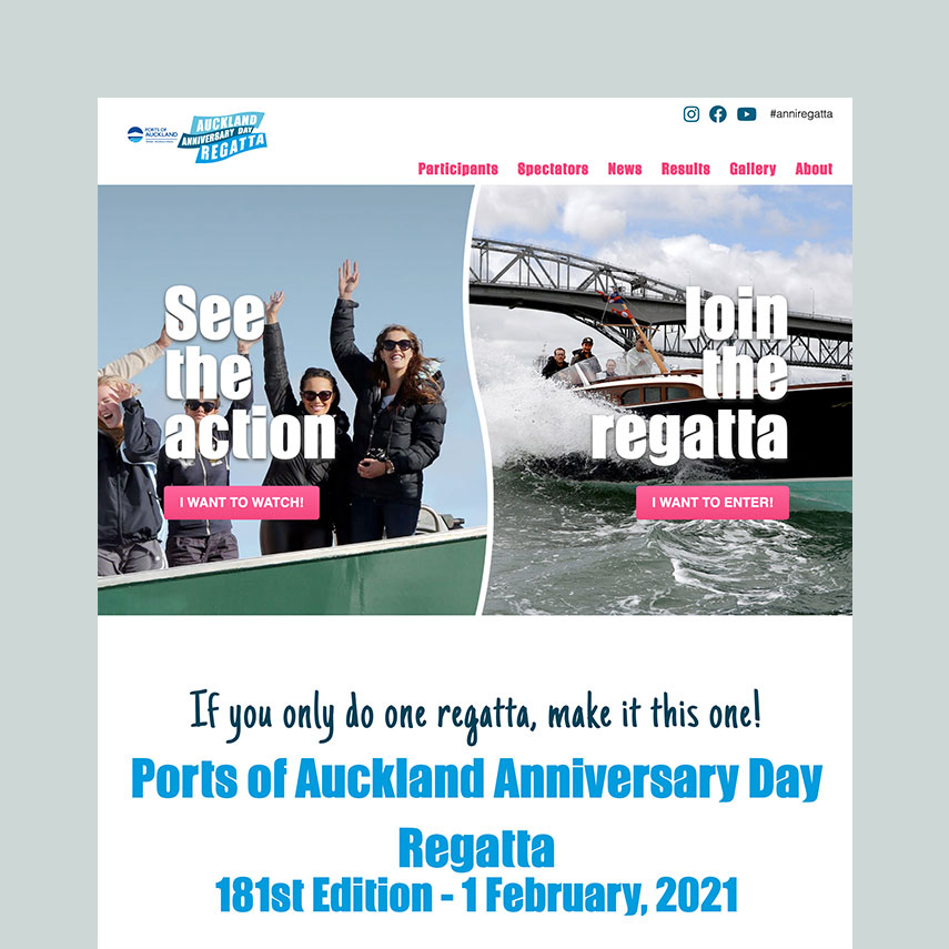 Auckland Anniversary Day Regatta website redesign